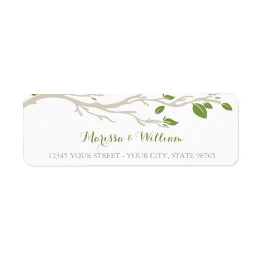 Étiquette de adresse vert/beige de branche d'arbre