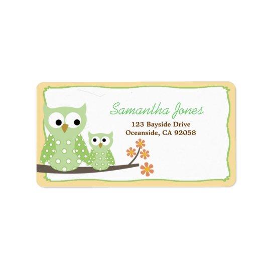 Étiquette de adresse vert de baby shower de hiboux