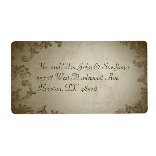 Étiquette de adresse vintage de mariage