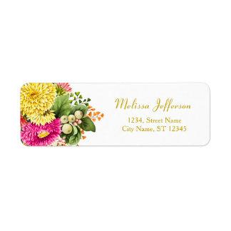 Étiquette de adresse vintage de retour de roses