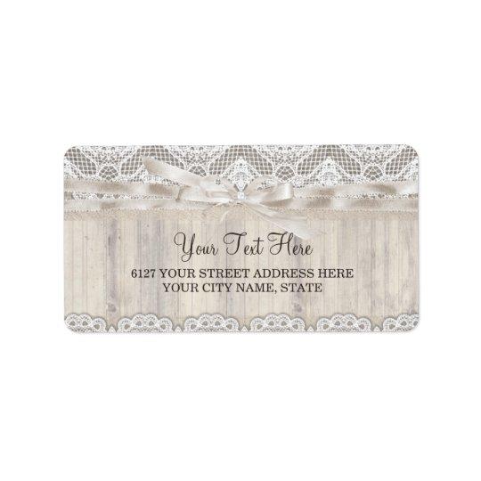 Étiquette de adresse vintage rustique de mariage
