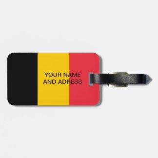 Étiquette de bagage avec le drapeau de la Belgique Étiquette Pour Bagages