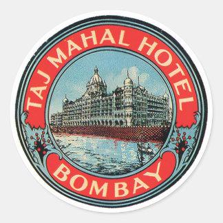 Étiquette de bagage de Bombay d'hôtel du Taj Mahal Adhésifs Ronds