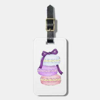 Étiquette de bagage de pile de Macaron d'aquarelle Étiquettes Bagages