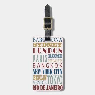 Étiquette de bagage de voyage de destination étiquette pour bagages