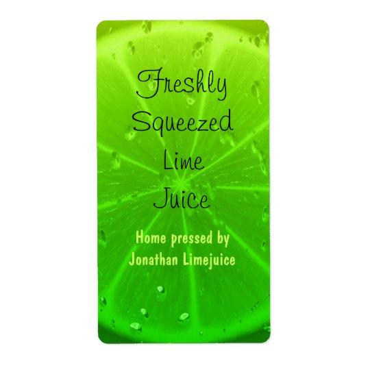 Étiquette de bouteille de jus de limette