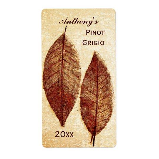 étiquette de bouteille de vin de feuille d'automne