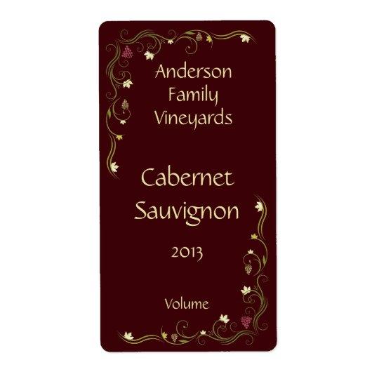 Étiquette de bouteille de vin rouge avec l'accent