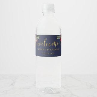 Étiquette de bouteille d'eau d'accueil de mariage