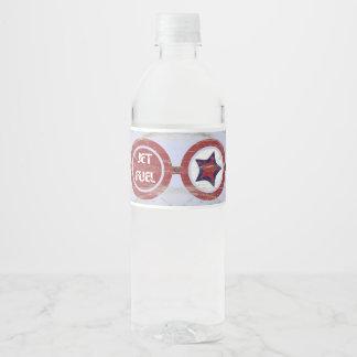 Étiquette de bouteille d'eau de partie d'avion de