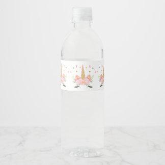 Étiquette de bouteille d'eau de partie de licorne
