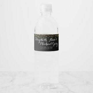 Étiquette de bouteille d'eau de scintillement d'or