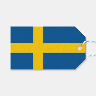 Étiquette de cadeau avec le drapeau de la Suède