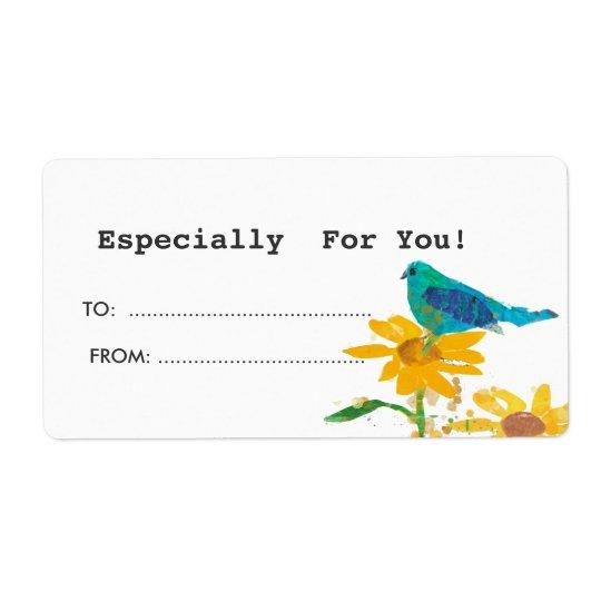 Étiquette de cadeau avec l'oiseau bleu