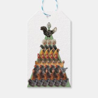 Étiquette de cadeau d'arbre de Noël de poulet