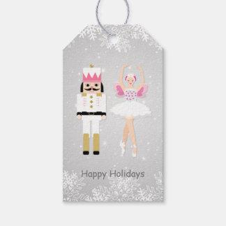 Étiquette de cadeau de ballerine et de Noël de