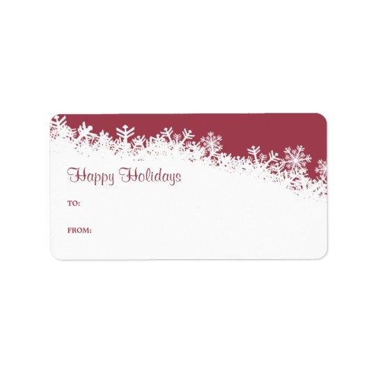 Étiquette de cadeau de bord de flocon de neige