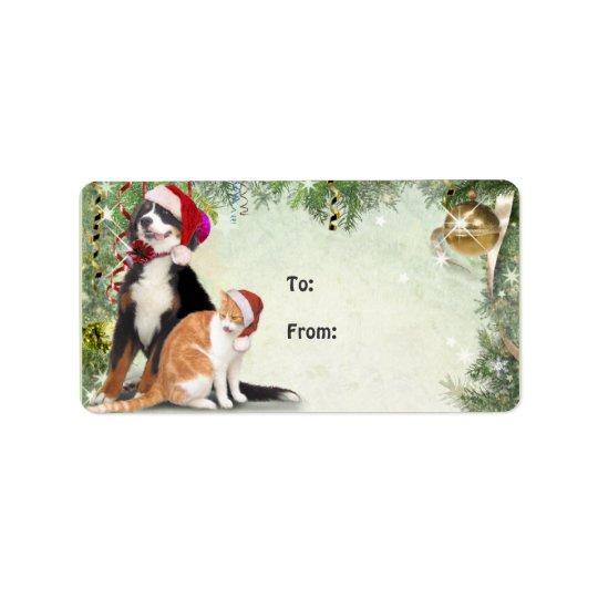 Étiquette de cadeau de chat et de chien