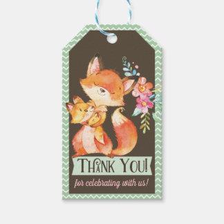 Étiquette de cadeau de Merci de baby shower de Fox