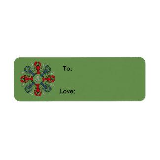 Étiquette de cadeau de N.S. Christmas d'ancre de
