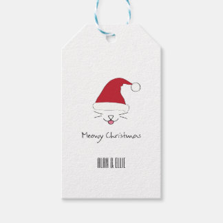 Étiquette de cadeau de Noël de Meowy