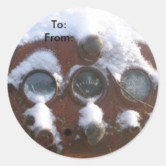 Étiquette de cadeau de Noël de panneau de tracteur Sticker Rond
