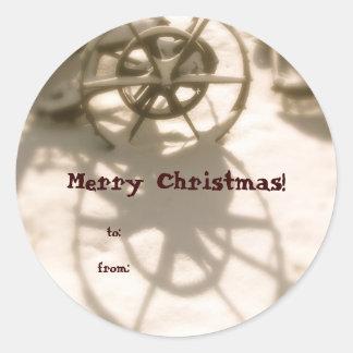Étiquette de cadeau de Noël de roue de tracteur Autocollant Rond