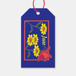 Étiquette de cadeau de papillons et de fleurs II