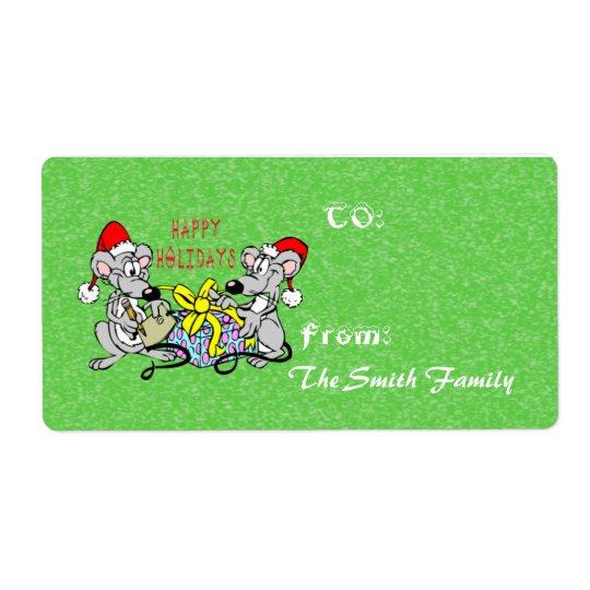 Étiquette de cadeau de souris de Noël (grande)