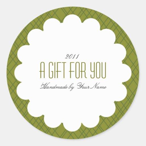 Étiquette de cadeau en vert adhésif rond
