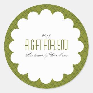 Étiquette de cadeau en vert sticker rond