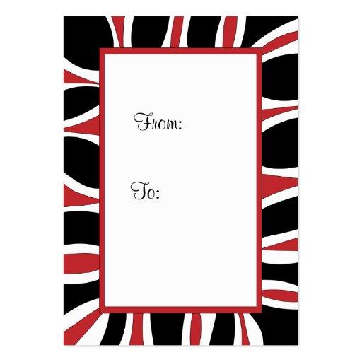 tiquette de cadeau rouge cadre noir et blanc carte de visite grand format zazzle. Black Bedroom Furniture Sets. Home Design Ideas