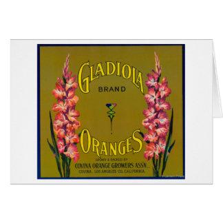 Étiquette de caisse d'agrume de marque de Gladiola Carte De Vœux