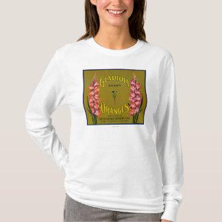 Étiquette de caisse d'agrume de marque de Gladiola T-shirt