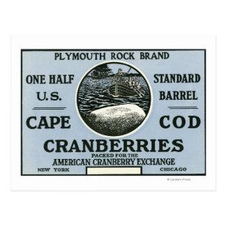 Étiquette de canneberge de marque de Cape Cod Cartes Postales