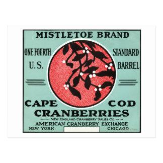 Étiquette de canneberge de marque de gui de Cape Carte Postale