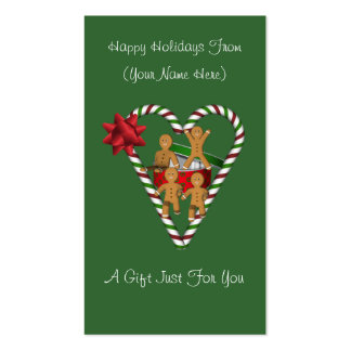 Étiquette de carte de cadeau de Noël de bonhommes Carte De Visite Standard