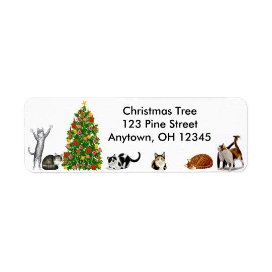 Étiquette de chats d'arbre de Noël