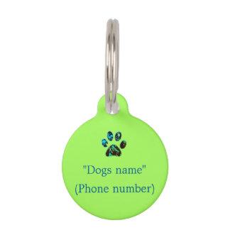 Étiquette de chien vert-bleu médaillon pour animaux