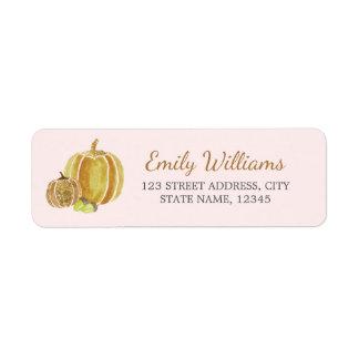 Étiquette de citrouille de rose d'or de chute