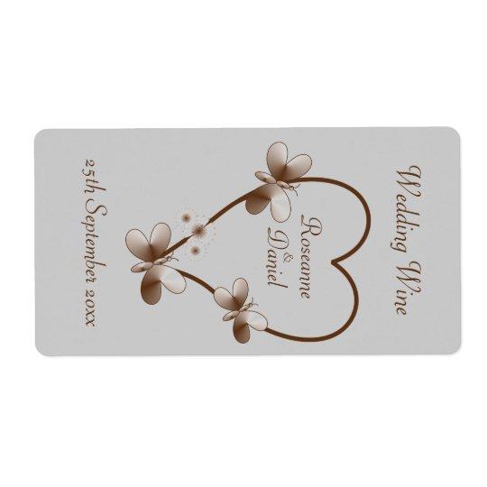 Étiquette de coeur de chocolat mini et de vin de