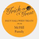 Étiquette de des bonbons ou un sort de Halloween Sticker Rond