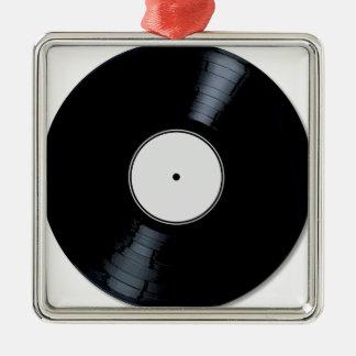 Étiquette de disque de blanc ornement carré argenté