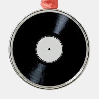 Étiquette de disque de blanc ornement rond argenté