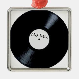 Étiquette de disque de mélange du DJ Ornement Carré Argenté