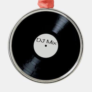 Étiquette de disque de mélange du DJ Ornement Rond Argenté