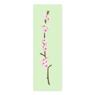 Étiquette de faveur de branche de fleurs de cerisi carte de visite