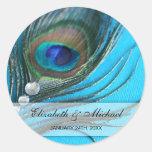 Étiquette de faveur de mariage de plume de paon de autocollants ronds