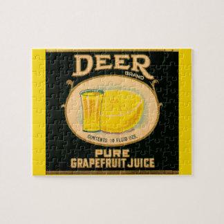 étiquette de jus de pamplemousse de marque de puzzle