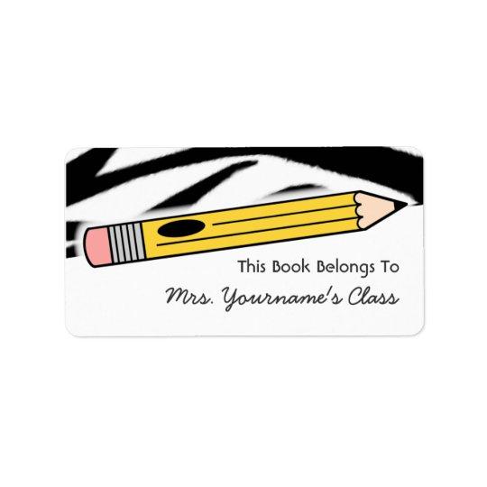 Étiquette de livre d'école d'impression de crayon